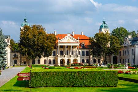 KOZLOWKA, POLAND, August 31, 2018: Zamoyski Palace in Kozlowka. It is a large rococo and neoclassical palace complex located in Kozlowka near Lublin in eastern Poland Редакционное
