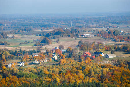 aerial view of the autumn forest, the Kashubian region, Gdañsk Pomerania