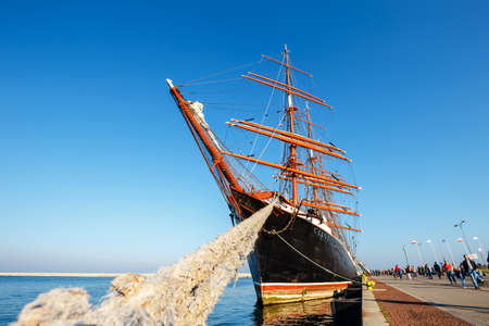 Gdynia, October 13, 2018: Four-master sailingship Sedov in Gdynia. It is the largest training sailing ship in the world Publikacyjne
