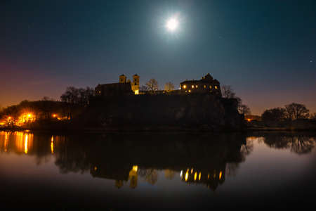 benedictine abbey in Tyniec at night, Poland