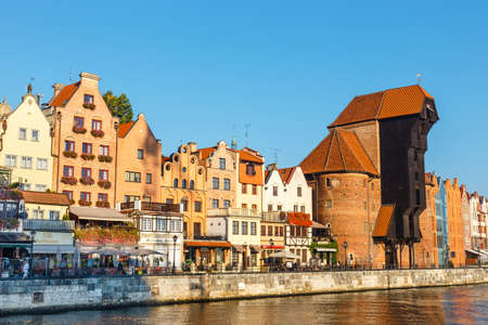 Gdansk, Poland, October 14, 2018: Sunny day at embankment of Motlawa river in historical part of Gdansk, Poland Zdjęcie Seryjne - 128137038