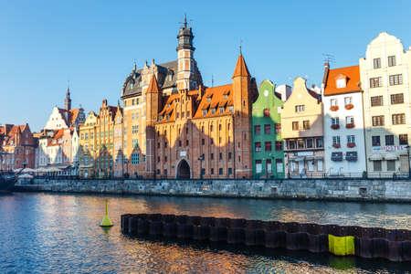 Gdansk, Poland, October 14, 2018: Embankment of Motlawa river in historical part of Gdansk, Poland