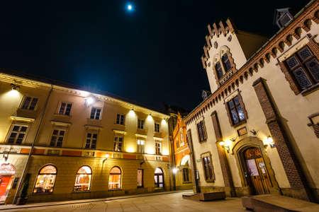 Krakow, Poland, February 16, 2019: Czartoryski Museum in old town of Krakow at night, Poland
