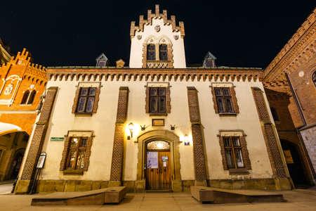 Krakow, Poland, February 16, 2019: Czartoryski Museum in old town of Krakow at night, Poland Zdjęcie Seryjne - 128137334
