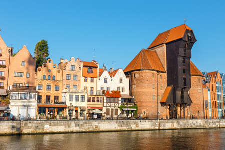 Gdansk, Poland, October 14, 2018: Sunny day at embankment of Motlawa river in historical part of Gdansk, Poland Zdjęcie Seryjne - 128137332