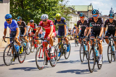 Krakow, Poland - July 29, 2017: Unidentified participants of 74th Tour de Pologne. Tour de Pologne is the biggest cycling event in Eastern Europe Zdjęcie Seryjne - 128137364