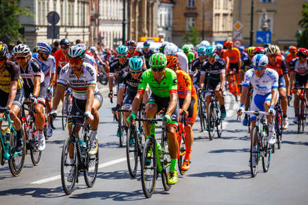 Krakow, Poland - July 29, 2017: Unidentified participants of 74th Tour de Pologne. Tour de Pologne is the biggest cycling event in Eastern Europe Zdjęcie Seryjne - 128137365