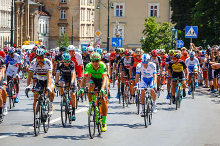 Krakow, Poland - July 29, 2017: Unidentified participants of 74th Tour de Pologne. Tour de Pologne is the biggest cycling event in Eastern Europe