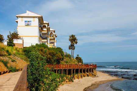 La Cala De Mijas, Spain, April 02, 2018: seaside promenade in La Cala De Mijas, Costa del Sol, Spain Zdjęcie Seryjne - 128080722