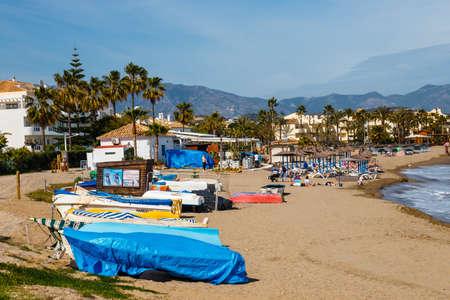 La cala de Mijas, Spain, April 02, 2018: seaside promenade in La Cala De Mijas, Costa del Sol, Spain Publikacyjne