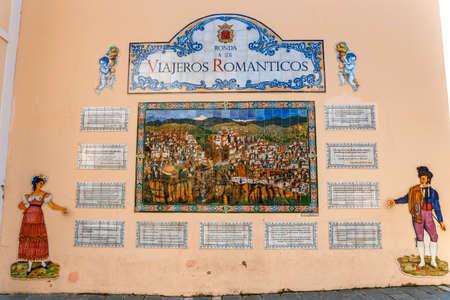 Ronda, Spain - April 05, 2018: Tribute to the romantic travelers viajeros Zdjęcie Seryjne - 128080726