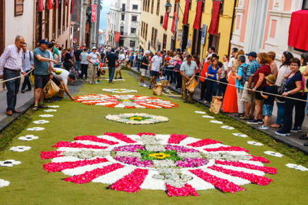 La Orotava, Tenerife, Spain - June 11, 2015: The celebration of Corpus Christi is one of the most deeply-rooted traditions in Tenerife