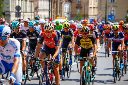 Krakow, Poland - July 29, 2017: Unidentified participants of 74th Tour de Pologne. Tour de Pologne is the biggest cycling event in Eastern Europe Zdjęcie Seryjne - 128137636