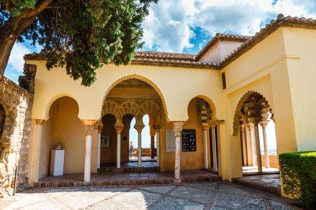 Malaga, Spain, April 03, 2018: view of Gibralfaro Castle in Malaga, Spain