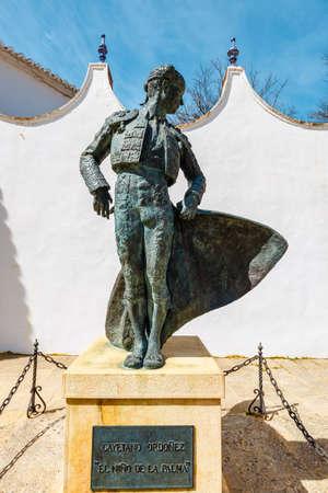 Ronda, Spain, April 05, 2018: A statue at the entrance to the Plaza de Toros in Ronda, Spain