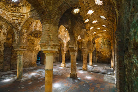 Ronda, Spain, April 05, 2018: The ruins of the Arab baths in town of Ronda, Andalusia, Spain