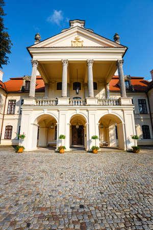 KOZLOWKA, POLAND, August 31, 2018: Zamoyski Palace in Kozlowka. It is a large rococo and neoclassical palace complex located in Kozlowka near Lublin in eastern Poland Publikacyjne