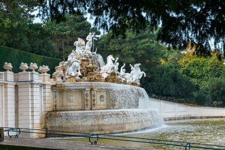 Vienna, Austria, October 14, 2016: Fountain in the garden in Schonbrunn Palace in Vienna, Austria