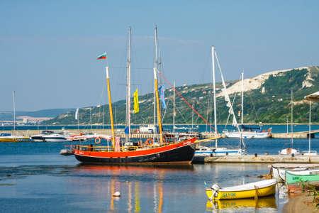 Balchik, Bulgaria, July 08, 2013: Yachts and  boats are moored in marina of Balchik city in black sea coast, Bulgaria Zdjęcie Seryjne - 128138036