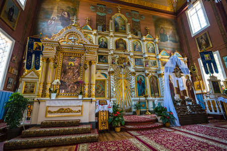 Puchly, Poland, June 09, 2019: Interior of the Orthodox church in Puchly  village, north eastern Poland Zdjęcie Seryjne - 128139018