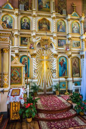 Puchly, Poland, June 09, 2019: Interior of the Orthodox church in Puchly  village, north eastern Poland Zdjęcie Seryjne - 128139017