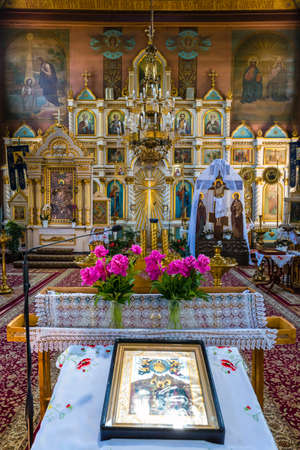 Puchly, Poland, June 09, 2019: Interior of the Orthodox church in Puchly  village, north eastern Poland Zdjęcie Seryjne - 128139014