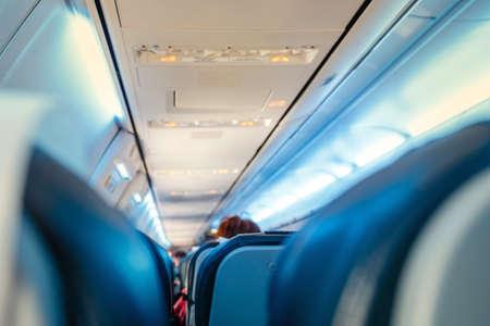 Innenraum des Passagierflugzeugs, flacher DOF Standard-Bild