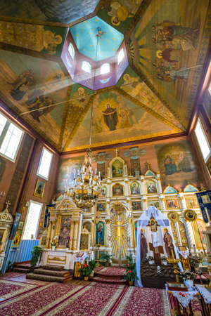 Puchly, Poland, June 09, 2019: Interior of the Orthodox church in Puchly  village, north eastern Poland