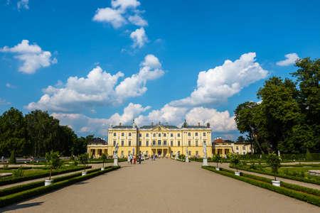 Bialystok, Poland, June 8, 2019: Beautiful architecture of the Branicki Palace in Bialystok, Poland