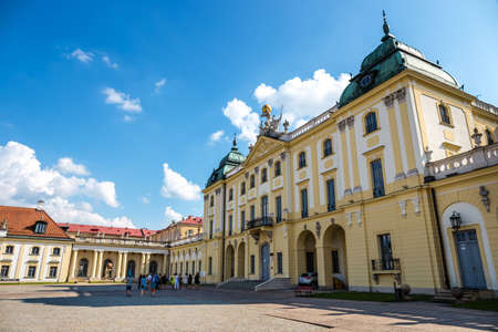 Bialystok, Poland, June 8, 2019: Facade of the Museum of the History of Medicine and Pharmacy in Branicki Palace, Poland
