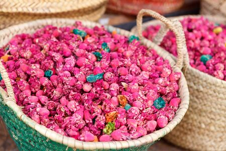 moroccan culture: Basket full of dried cactus flowers