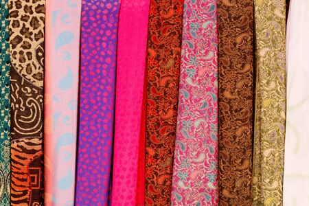 souk: Multicolored scarves on souk in Marrakech, Morocco Stock Photo