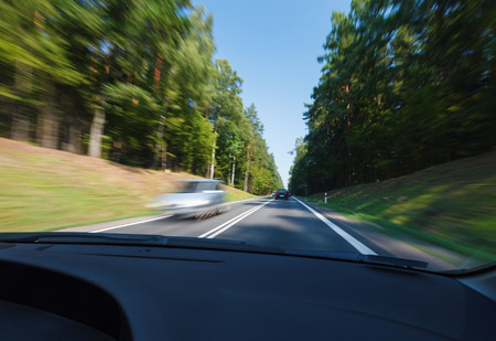 driving conditions: Driving in good weather conditions Stock Photo