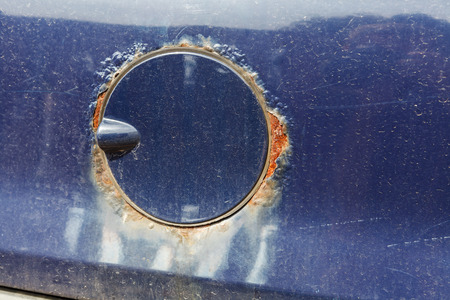 filler: Rust on the car fuel filler Stock Photo