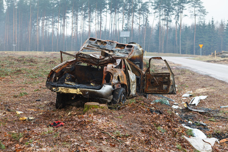 Burned car wreck Stock Photo