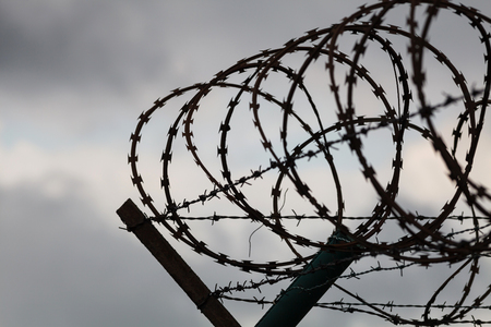 Barbed wire fence of restricted area Stock Photo