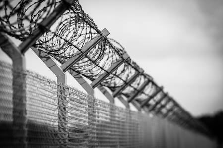 Barbed wire fence of the restricted area, black and white Stock Photo