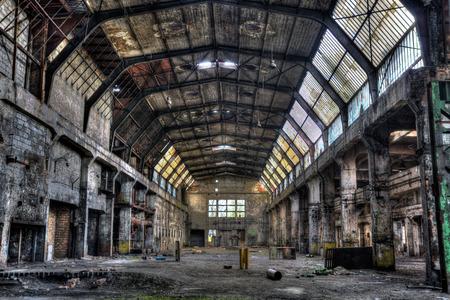 Oude fabriek hall - HDR levendig Stockfoto