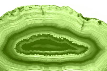 Abstract background - green agate slice macro mineral (PANTONE 15-0343 greenery) Stock Photo
