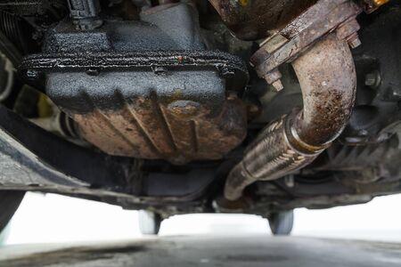 oil leak in the diesel engine, bottom view on oil sump