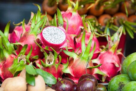 sell: Pitaya fruit on vegetable market