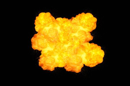 shockwave: Extremely massive fire explosion, orange color with sparks isolated on black background