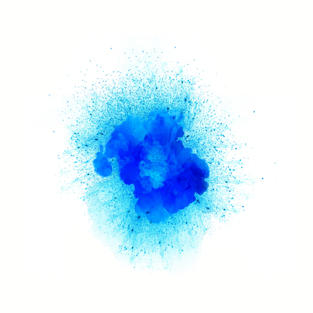 Abstract fire explosion, blue vivid color with sparks isolated on white background