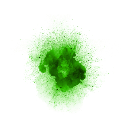 Abstract fire explosion, green color with sparks isolated on white background Stock Photo