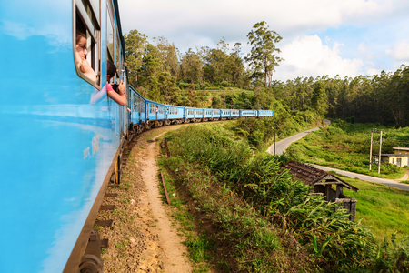 SRI LANKA, CIRCA MARCH 2016: Travel by train is very comfortable way of moving through Sri Lanka. Price of the ticket includes amazing views as train is passing green mountains, valleys or tea plantations. Editorial