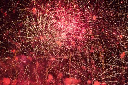Colorful fireworks against dark sky