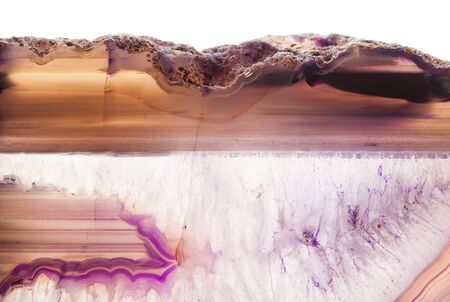 super cross: Abstract background - pink agate mineral cross section isolated on white background Foto de archivo