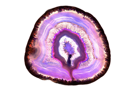 Abstract background - pink agate mineral cross section isolated on white background 스톡 콘텐츠
