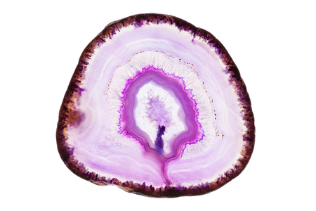 Abstract background - pink agate mineral cross section isolated on white background Stock Photo