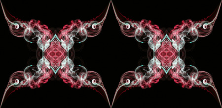 Red and white abstract twisted smoke isolated on black background, formed in circles and rosettes, pattern is in endless loop Stock Photo